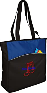 all about me company Personalized Music Note Two-Tone Colorblock Tote Bag (Royal/Black)
