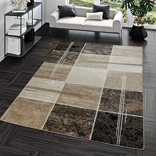 Alfombra para el salón diseño moderno a cuadros marrón-beige – T &T Desing . Medidas 160 x220 cm