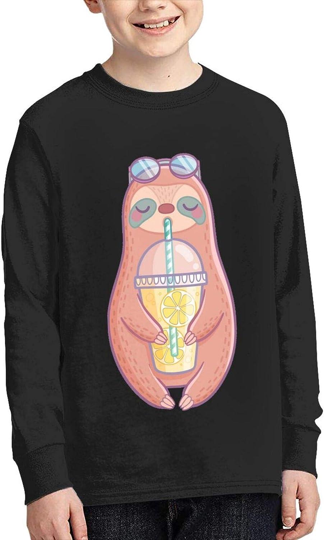 Funny Cool Sloth with Lemonade Drink Youth Boys Girls T-Shirt Long Sleeve Cotton Tshirt Comfortableteenage Tops