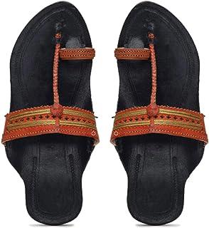 KALAPURI� Ladies Kolhapuri Chappal in Genuine Leather with Black Pointed Shape Base and Orange Punching Upper. Handmade in...