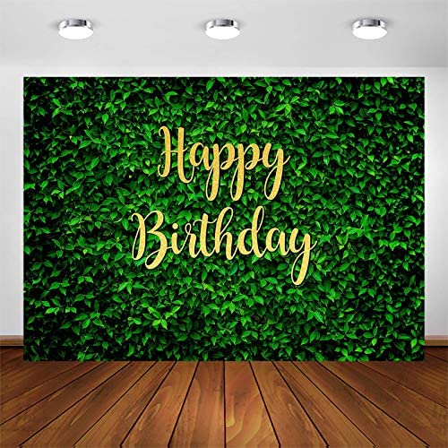 Avezano Green Leaves Happy Birthday Backdrop for Jungle Safari Party Decorations Photography product image