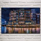 Bytfaa Hermoso Edificio de Amsterdam Paisaje Nocturno río Holanda Paisaje Sala de Estar decoración de Arte para el hogar póster 40x60cm