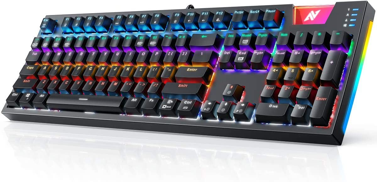 ABKONCORE Gaming Mechanical Keyboard K660, RGB Side LED and Backlit Keyboard USB Wired Computer Keyboard with OUTEMU Blue Switches, 104 Full Key-Rollover, Anti Ghosting Keyboard with IP42 Splash-Proof