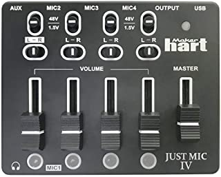 Maker hart Just Mic 4 Mini Microphone Mixer 4 Channels/Portable Phantom Power/Audio Interface
