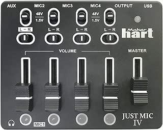 Maker hart Just Mic 4 Mini Microphone Mixer 4 Channels/Portable Phantom Power/Audio Interface