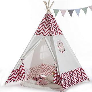 Tält, barn lektält röd våg inomhus baby leksak tält randigt indiskt slott tält inomhus utomhus juldekor tipi med bärväska ...