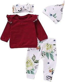 Ropa Bebe Niña Invierno Navidad Ofertas Infantil Recien Nacido Niño Camisetas Blusas Bebe Niña Otoño Pijamas Camisa + Pantalones + Sombrero + Diadema Conjunto De Ropa