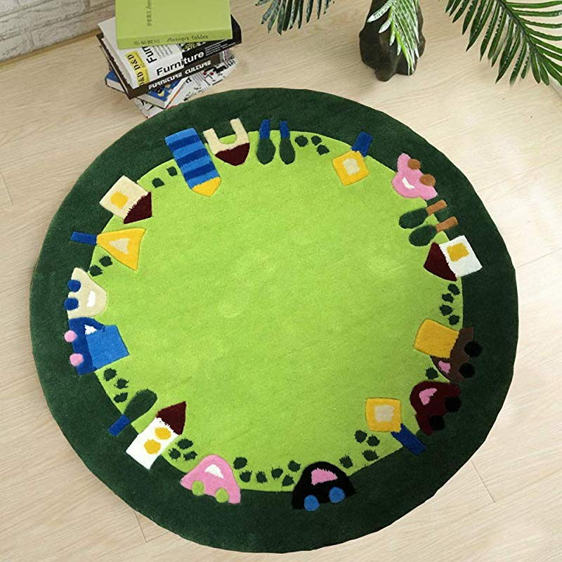 Kids Rug Children S Play Mat Carpet Large Round Thick Soft Green For Boys And Girls Classroom Playroom Bedroom Nursery Rugs Preschool 100cm Diameter 3 2 Ft