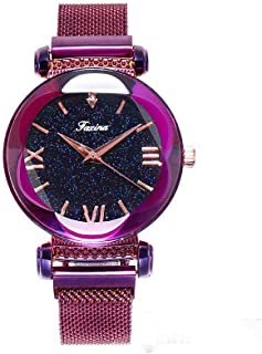 Fashion Ladies Watches,Milanese Mesh Watchband,Classic Quartz Women's Wrist Watch,Purple