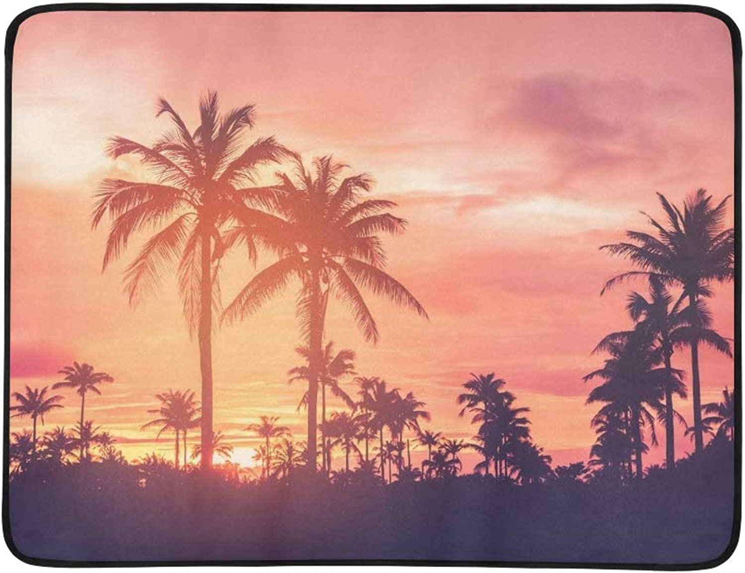 Copy Space Silhouette Tropical Palm Tree Portable and Foldable Blanket Mat 60x78 Inch Handy Mat for Camping Picnic Beach Indoor Outdoor Travel