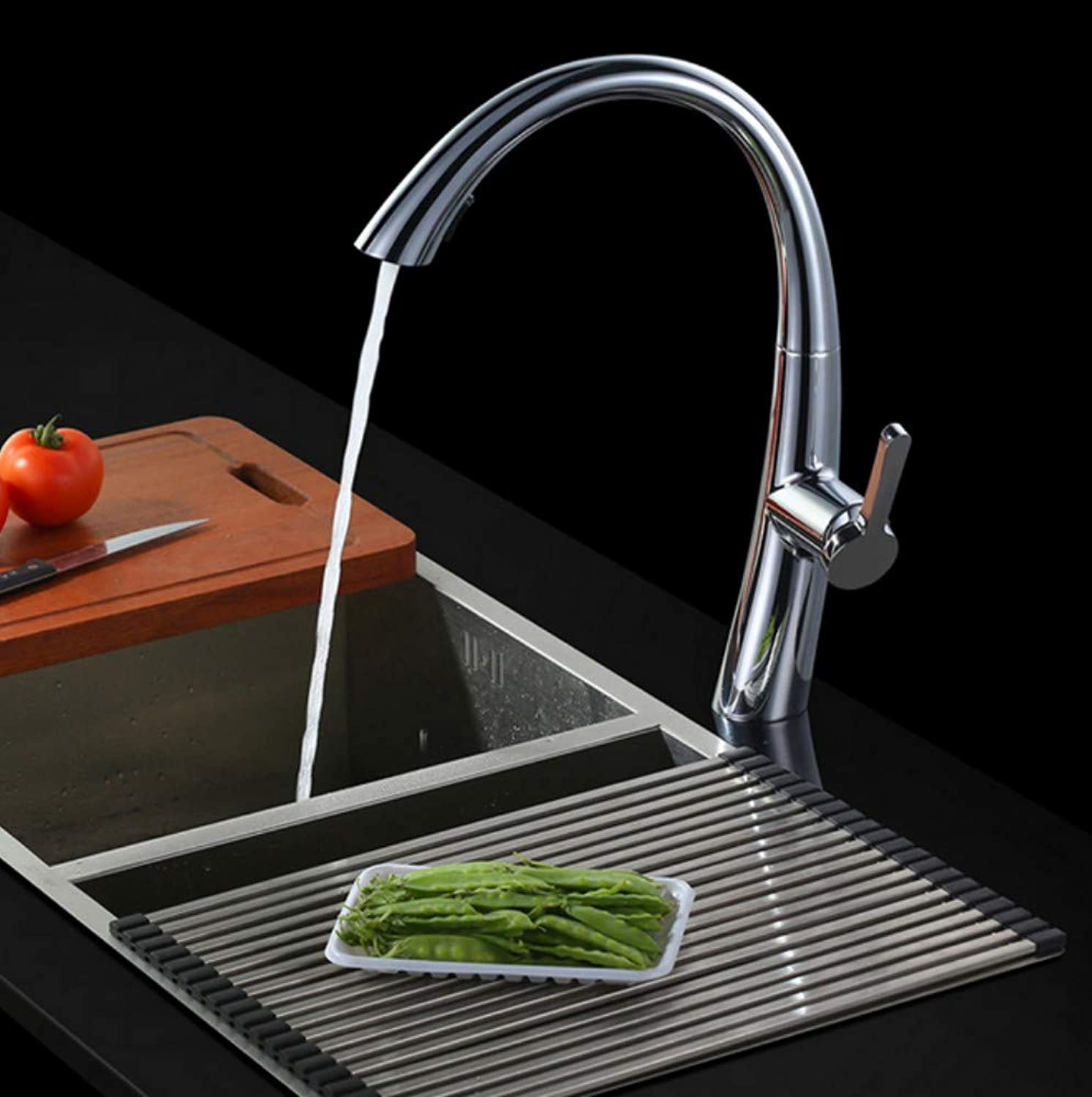 Xiujie Faucet Hot and Cold Pull-Out Kitchen Faucet Single Handle Single Hole Sink Faucet Universal redation Wash Basin Faucet