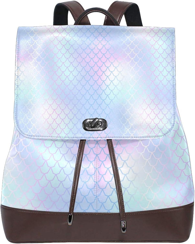 Fashion Shoulder Bag Rucksack PU Leather Women Girls Ladies Backpack Travel Bag Fish Skin Mermaid Scale