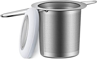 Cosyland Tea Infuser 18/8 Stainless Steel Tea Strainer Tea Filter Loose Tea Infuser Mesh Strainer Brewing Basket with Lid & Large Capacity & Double Handles – Grey