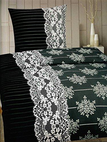 2-Teilig Microfaser Flausch/Fleece Bettwäsche grau/weiss/schwarz GRATIS 1x SCHAL GRATIS 1x 135x200 Bettbezug + 1x 80x80 Kissenbezug , weich und kuschelig