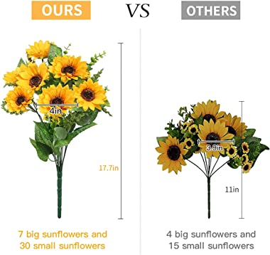 AmyHomie Artificial Sunflower Bouquets, Artificial Silk Fake Flowers for Baby Shower Home Decoration Wedding Decor, Bride Hol