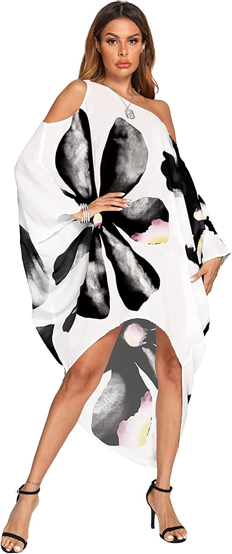 BB&KK Women's Summer Maxi Long Cold Shoulder Loose Kaftan Flowy Batwing Beach Cover Up Dress