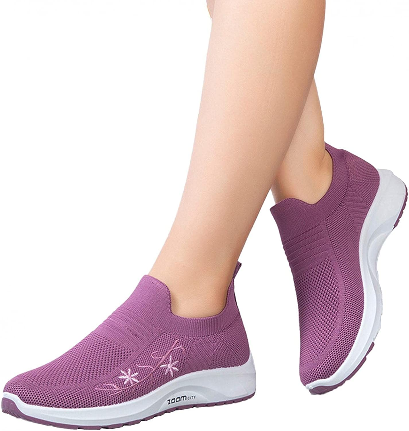 Hbeylia Wedge Walking Running Shoes Comfortable Lightweight Breathable Slip On Sock Platform Sneakers Outdoor Air Cushion Athletic Sports Tennis Hiking Shoes For Women Ladies Work Nurse