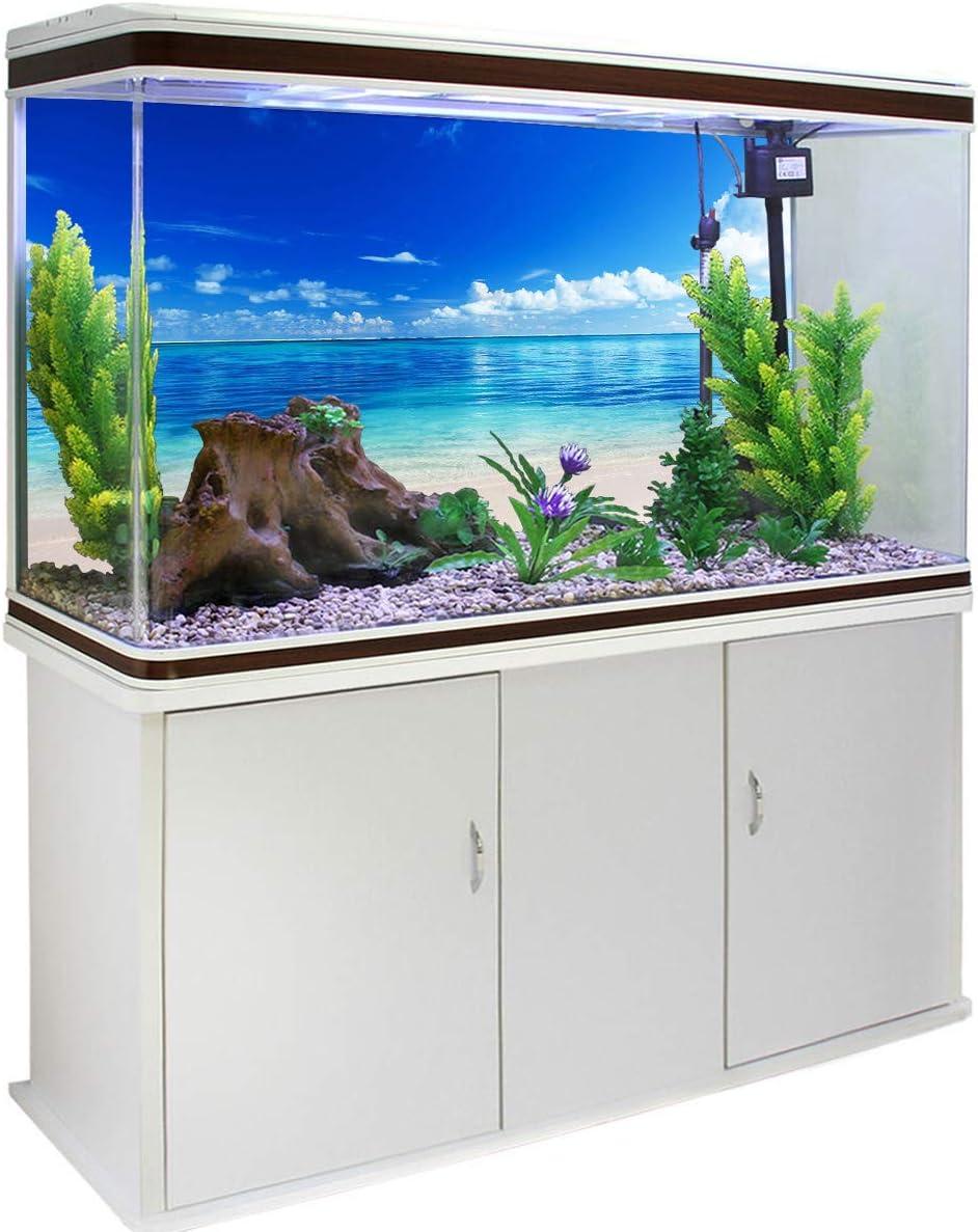 Victories Fish Tank Backdrop-PVC HD Printing Wallpaper,Blue Sky Beach Scenery Aquarium Poster Background Decor Paper Cling Decals Sticker