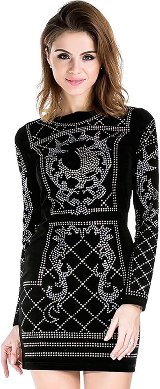 Miss ord Women's Long Sleeve Halter Studded Casual Mini Dress with Zipper Black