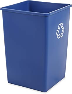 Rubbermaid Commercial Products 35-Gallon Untouchable Square Trash/Garbage Can for Offices/Stores/Restaurants, Blue Recycling (FG395873BLUE)