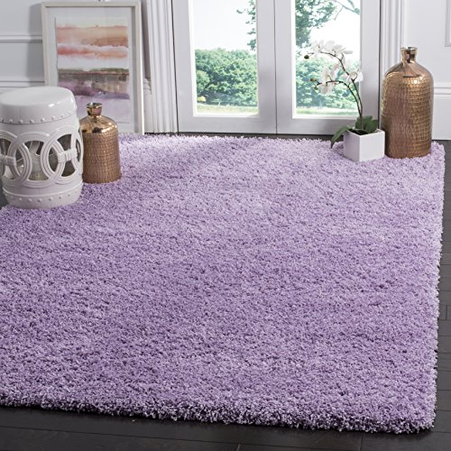 SAFAVIEH Laguna Shag Collection SGL303N Solid Non-Shedding Living Room Bedroom Dining Room Entryway Plush 2-inch Thick Area Rug, 8' x 10', Lilac