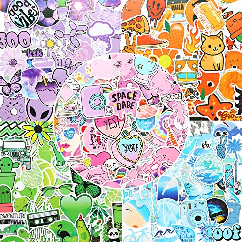 300 Pieces Mixed Trend Stickers for Water Bottle Multi-Colored Stickers Waterproof Vinyl Decorative Sticker Reusable Aesthetic Decals for Kids, Teens, Adults Laptop Luggage Skateboard