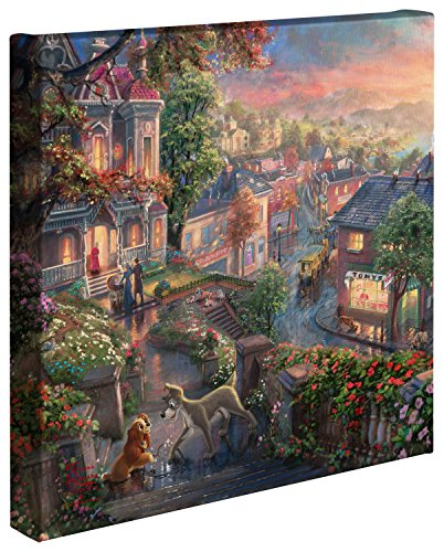 Thomas Kinkade  Gallery Wrapped Canvas  Lady and the Tramp  14quot x 14quot  61338