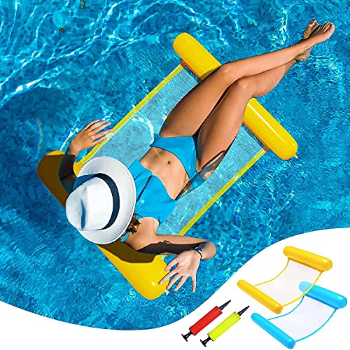 Piscina Flotadores Tamaño Adulto - 2 Paquete 4-en-1 Piscina Inflable Flotable Flotable Flotador de la Piscina, Pool Lounge Sillón Lago Flotadores para Niños Adulto