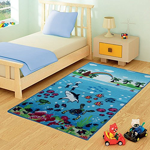 FunkyBuys per Bambini Sea Life Mat Modern Design Play Mat Nursery Rugs Non Slip – 3 Sizes Best Price