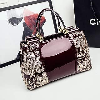 Rjj Handbag/Men's Shoulder Bag/Leather Bag/Platinum Bag/Plastic Leather Business Bag Exquisite (Color : Red)