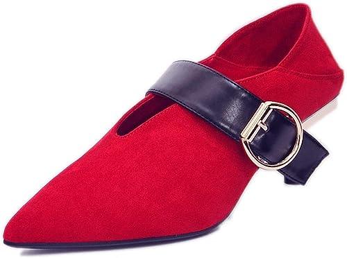 GTVERNH-Chaussures de Mariage Les Femmes au Milieu des Talons Boutons 5 cm de Talons Hauts des Couleurs de la Mode Les Chaussures Pointues Slim Talons Cat.