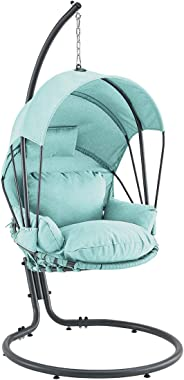 Barton Deluxe Outdoor Hanging Chair Lounge Seating with Deep Cushion Chair Canopy Sun Shade, Aqua