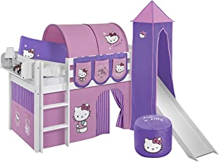 Lilokids Lit de jeu JELLE Hello Kitty violet avec toboggan - Lit mezzanine blanc - Avec rideau, tour, tunnel et poches