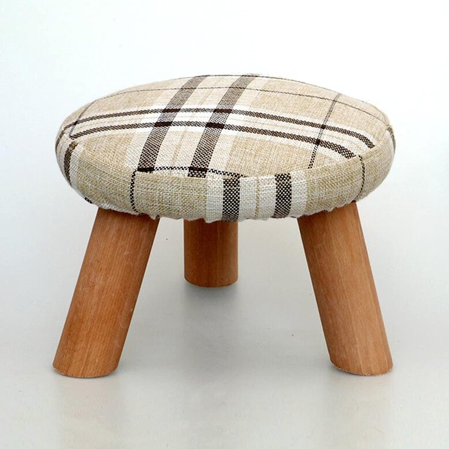 Sun Low Stool Cloth Solid Wood Round Wooden Bench Washable Sofa Stool (color   4)