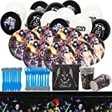 Star Wars Party Supplies Vajilla para fiestas Diseño Incluye Pancartas, Platos,Tazas, Servilletas, Pajay, Manteles y Tenedores Decoraciones Cumpleaño Star Wars, 73 piezas