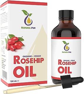 Aceite de Rosa Mosqueta Puro Bío 120 ml - Rosehip Oil 100% Orgánico Prensado en Frío, No Refinado, Nativo, Cicatrizante y Regenerante para Cicatrices, Quemaduras y Estrías