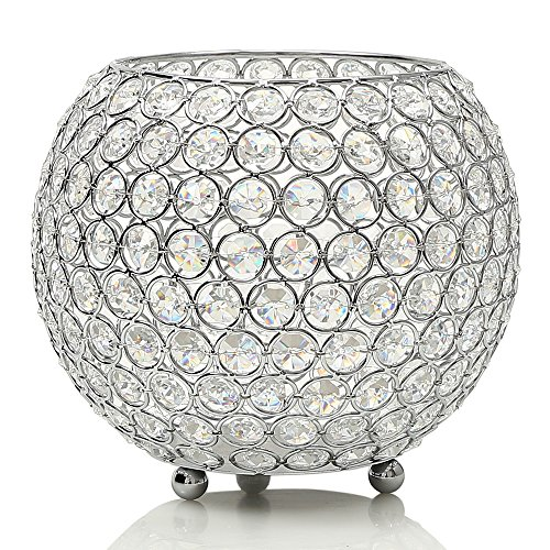 VINCIGANT Silver Crystal Floor Vases/Bowl Candle Holders/Candle Shade for Wedding Anniversary Home Decoration Gifts,Coffee Table Decorative Centerpiece