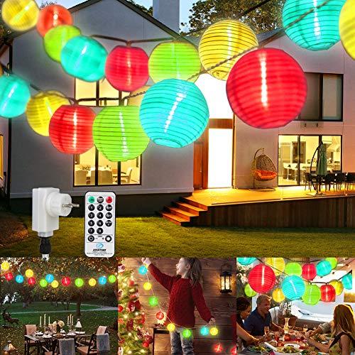 Lampion Lichterkette Außen Bunt, ETMURY 13M 40LED Led Lampions Außen mit Fernbedienung & Stecker, IP65 Wasserdicht 8 modi und 3 Timing-Funktion, für Garten, Hof, Hochzeit, Fest Deko