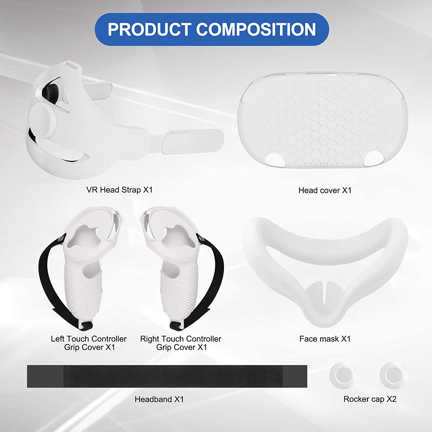 Esimen 5 in 1 Adjustable Head Strap for Oculus Quest 2 VR Shell Front Face Pad Grip Cover,Enhanced Support and Comfort in VR (White)