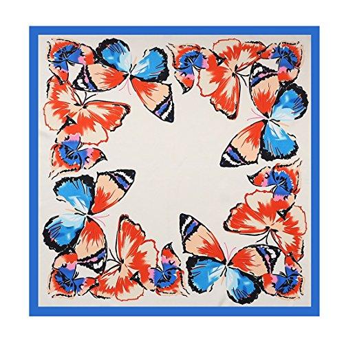 Gözəl Small Square Schmetterling Twill Simulation Seidenschal Elegantes Accessoire (Color : Blue, Size : 60 * 60cm)