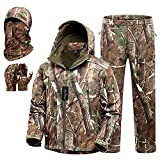 New View Quiet Hunting Clothes for Men, Camo Hunting Jacket and Pants, Water Resistant and Insulated