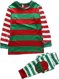 021a82a06a243 BESBOMIG Famille Noël Pyjama Assorti Vêtements - Tenue Parent-Enfant Coton  Manche Longue T-