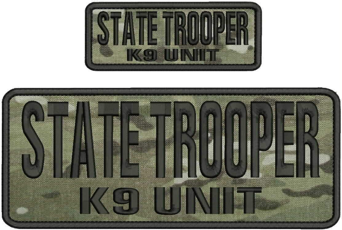 Hook on At the price Back Embroidered Patch of State Trooper K9 Unit Embroide Inventory cleanup selling sale