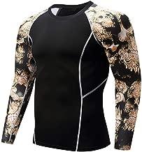 Herren Pullover Schwarz Kompressionsshirt Rundausschnitt Gym Fitness T-Shirt Sport Funktionsshirts Base Layer Langarm Funktionswäsche Atmungsaktiv Laufshirt Sportshirt für Jogging Running Yoga