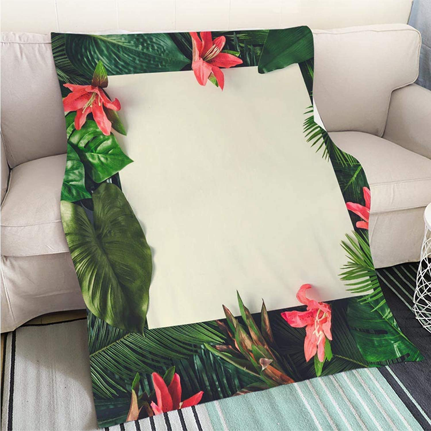 Luxury Super Soft Blanket Creative Nature Layout Made of Tropical Leaves and Flowers with Paper Card Note Flat Lay Summer Concept Perfect for Couch Sofa or Bed Cool Quilt