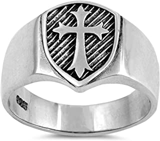 Sterling Silver Men's Solid Medieval Shield Cross Band Ring Sizes 6-13