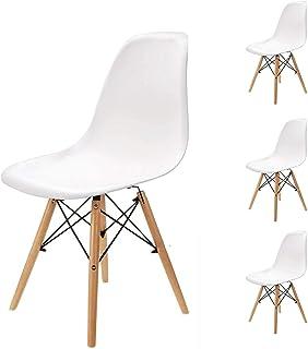 Pack 4/6 sillas de Comedor Silla diseño nórdico Retro Estilo (Blanco-4)