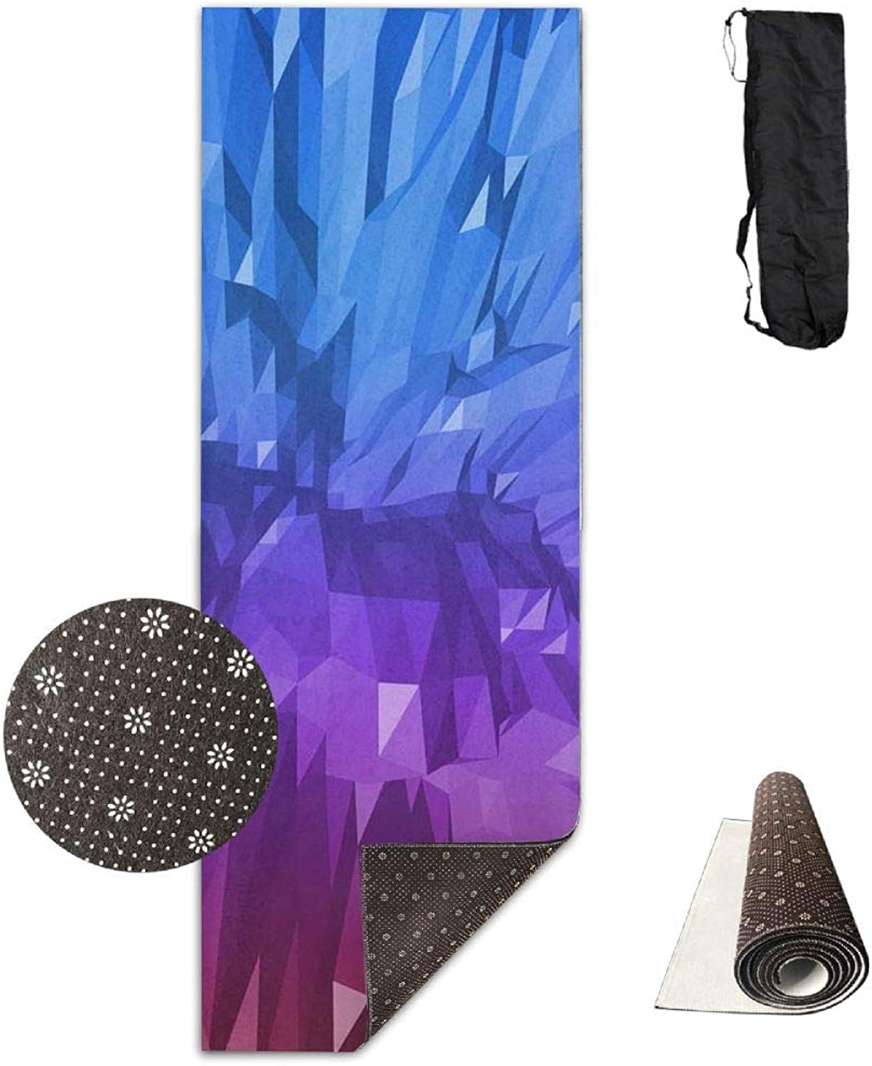 Yoga Mat Non Slip 24  X 71  Exercise Mats Abstract Crystal Premium Fitness Pilates Carrying Strap