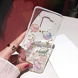 Galaxy S9 Glitter Case, Shinymore Bling Planet Space Sparkle Moon Starry Soft Gel Rubber Cover for Samsung Galaxy S9 -Clear
