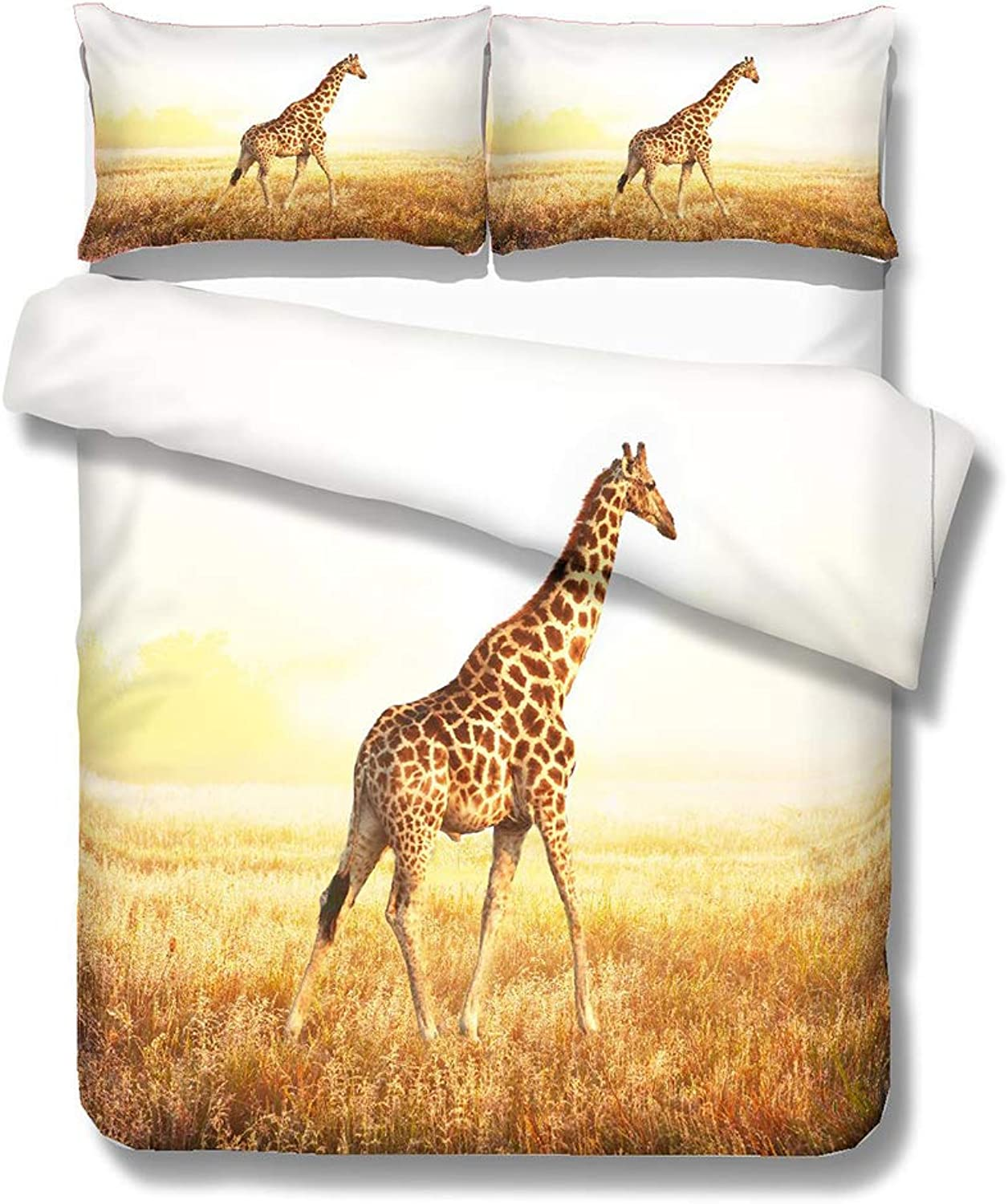 pinkAuroma 3D Giraffe Bedding Set Duvet Cover Giraffe Bedding 3D Grassland Bedding, 3 Piece Animal Bedding Sets with Pillow Shams Queen Size